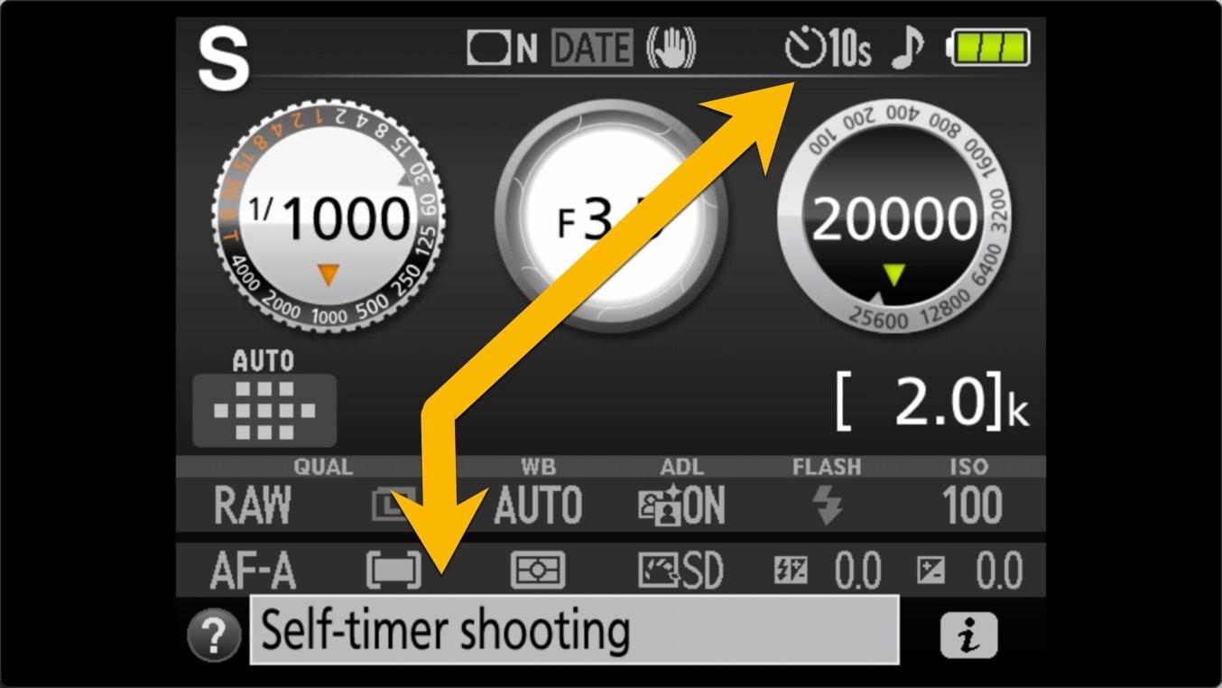 Nikon D3400 Self Timer Status Screen